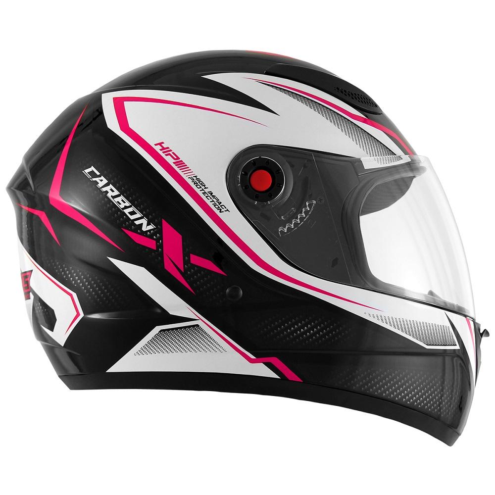 Capacete Mixs MX2 Carbon preto/rosa brilhante