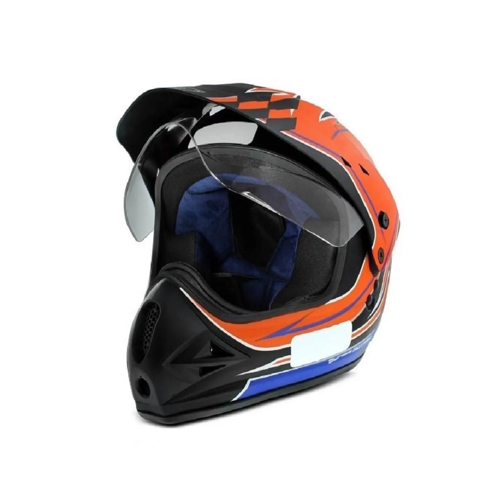 Capacete moto cross EBF Super Motard Grid preto fosco/laranja