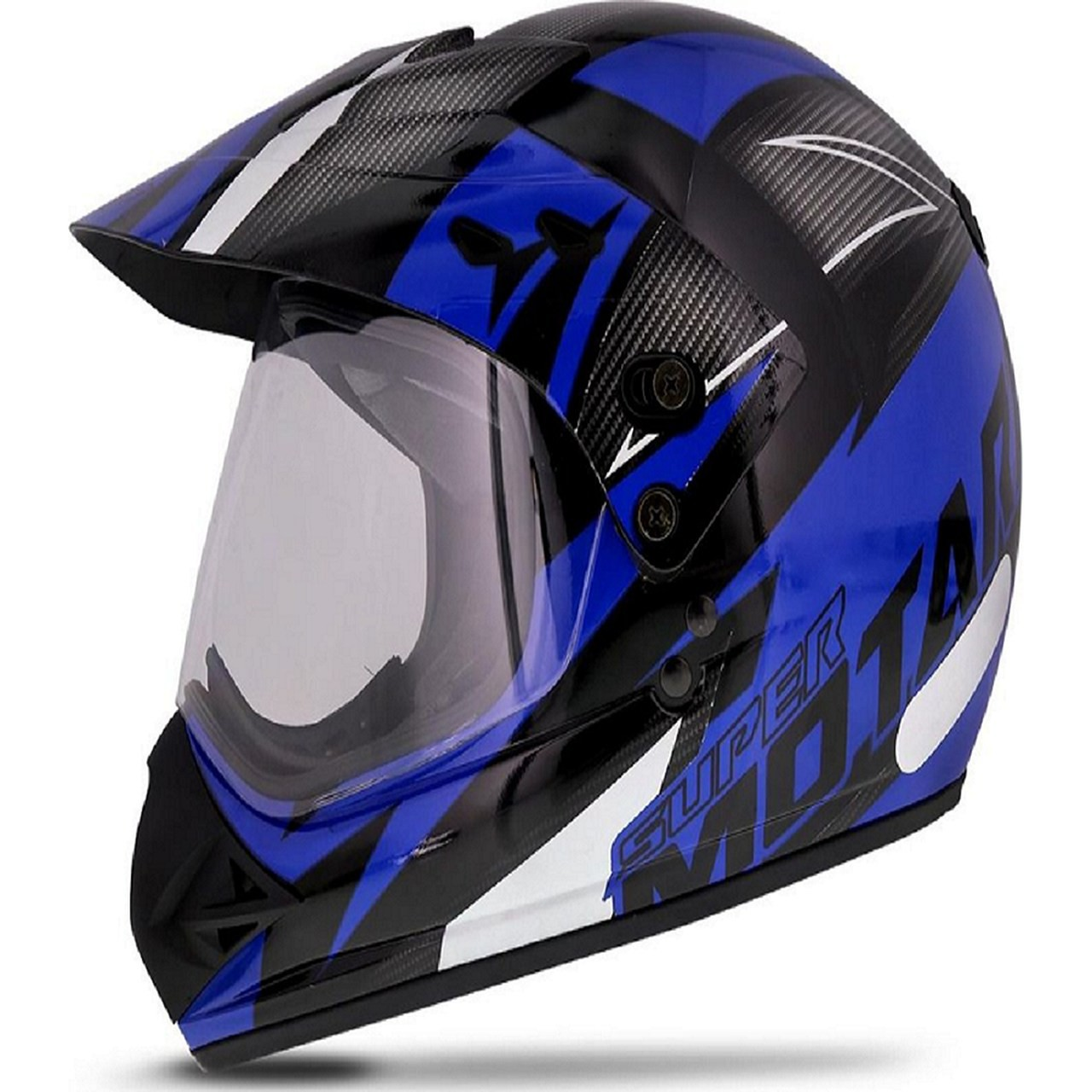 Capacete moto cross Super Motard Iron preto/azul