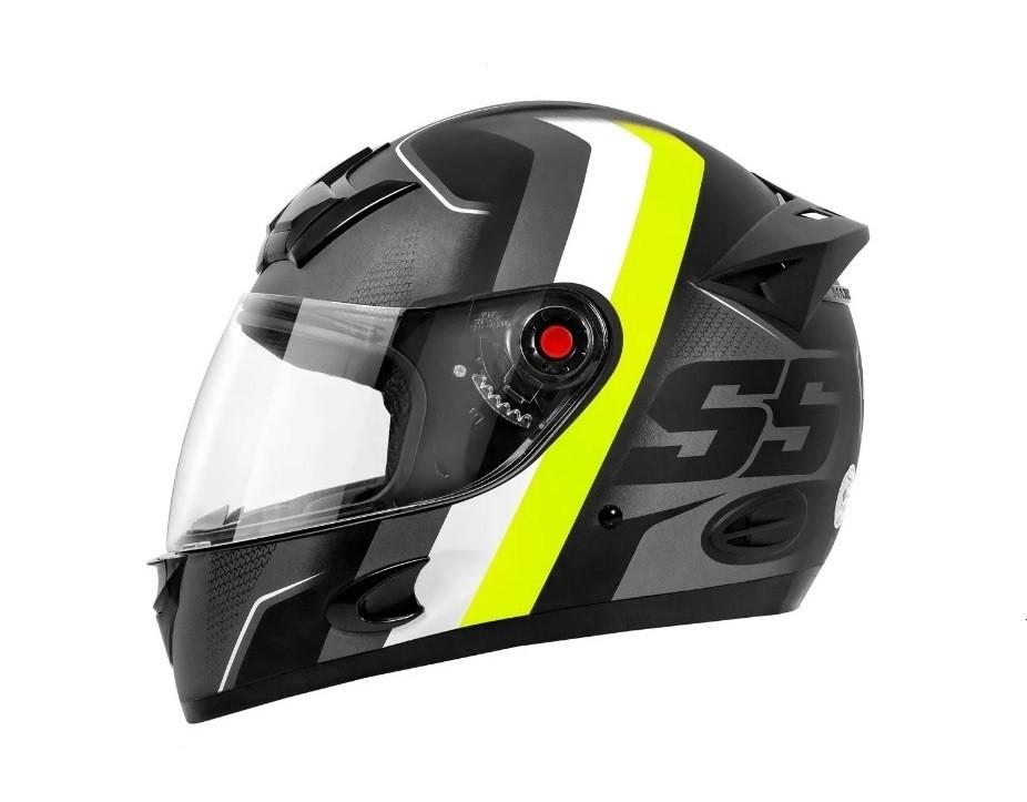 Capacete moto Mixs MX5 Super Speed cinza fosco/amarelo