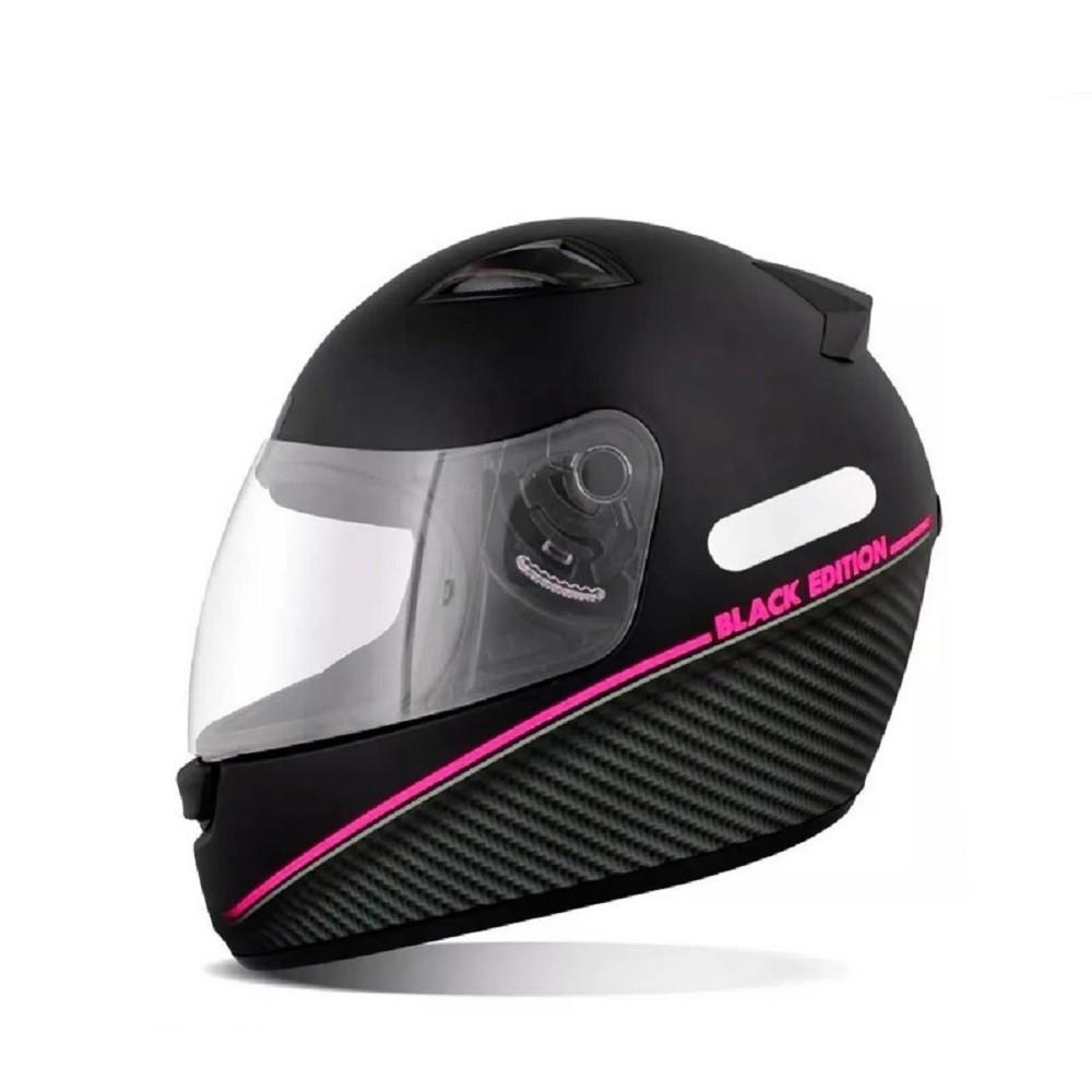 Capacete para moto EBF New Spark Black Edition pto fosco/rosa