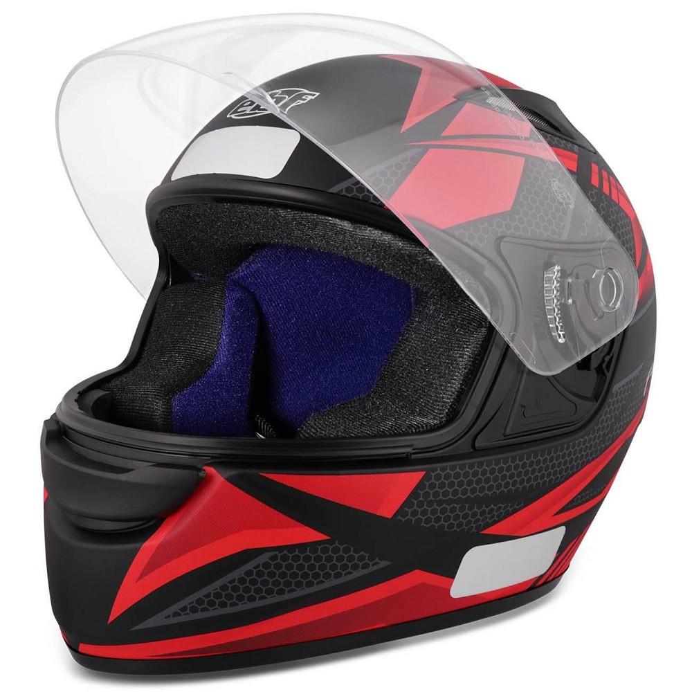 Capacete para moto EBF New Spark Flash preto fosco/vermelho