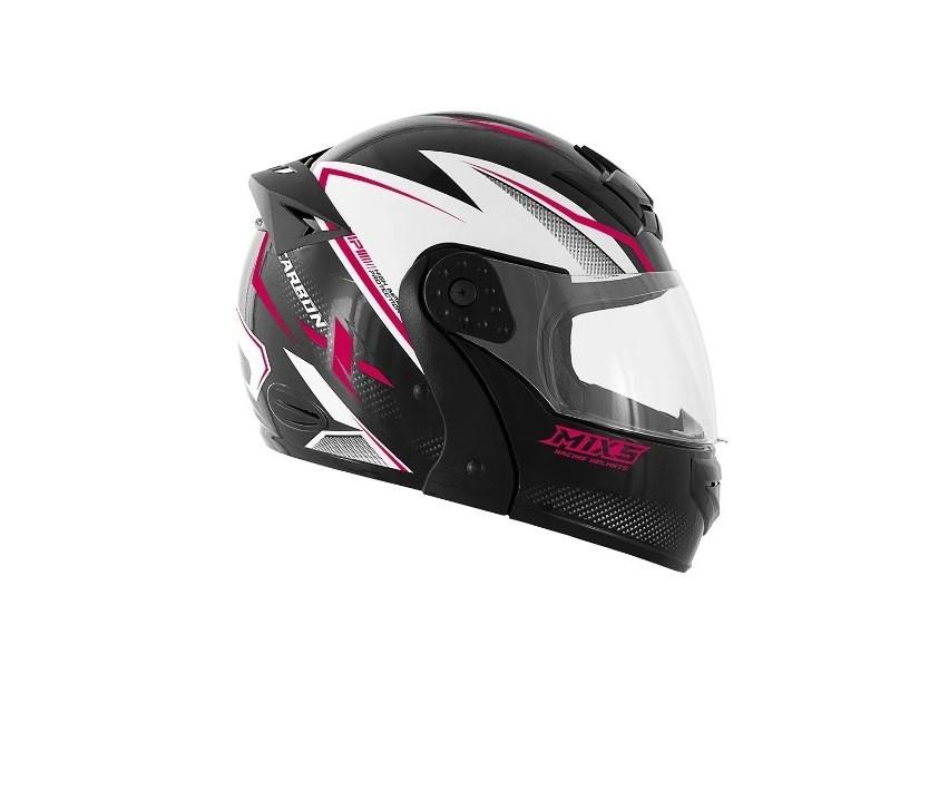 Capacete para moto Mixs Gladiator Carbon Preto brilhante/rosa
