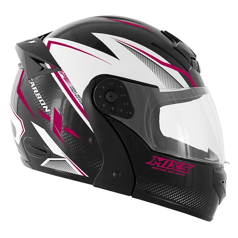 Capacete para moto Mixs Gladiator Carbon Preto/rosa brilhante