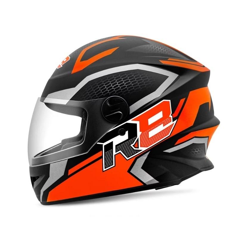 Capacete Protork R8 Air preto fosco/laranja fechado