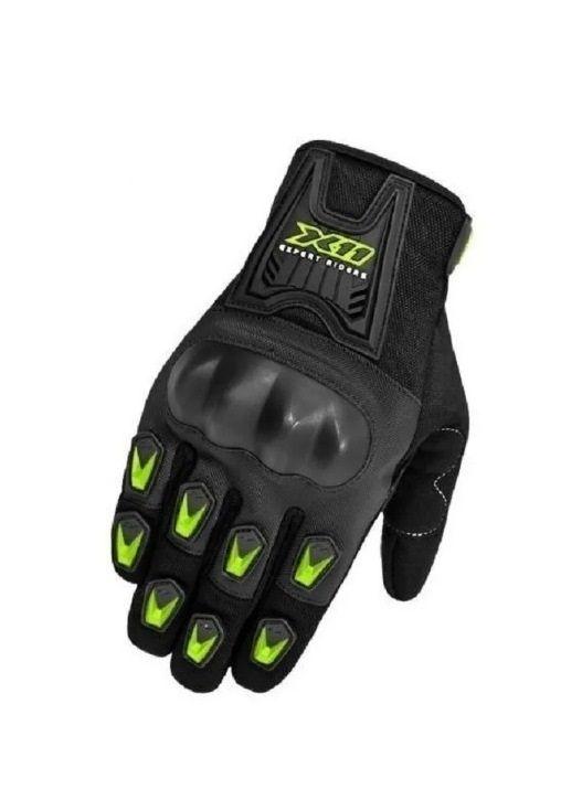 Luva moto X11 Blackout com protetor (preta/neon)