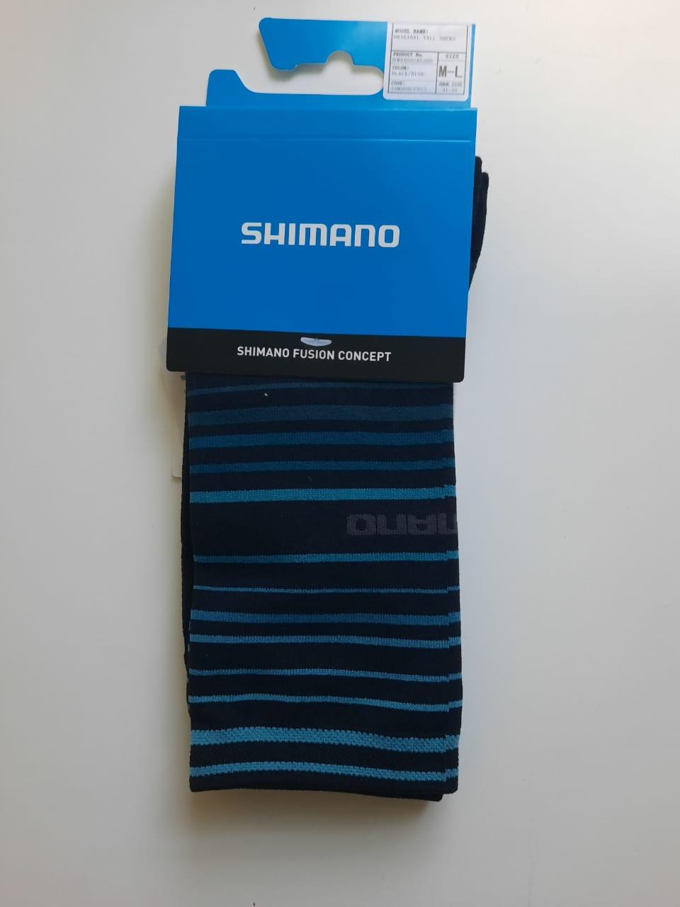 Meia de ciclismo Shimano Tall Socks cano alto preta/azul (41-44)