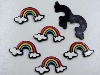 aplique arco-íris 3,3x1,8cm para artesanatos 5 unidades