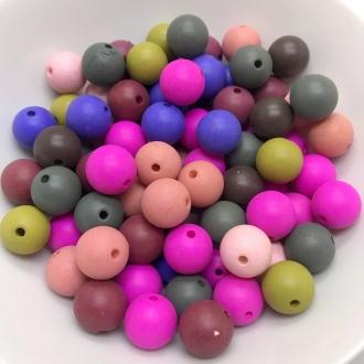 bola fosca com furo 12mm colorido escuro 25 unidades