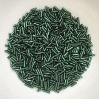 canutilho verde escuro 6mm com furo prata 25g