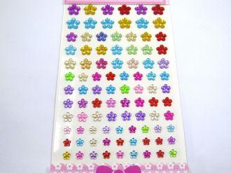 cartela de adesivo flor colorida sortida 101 unidades