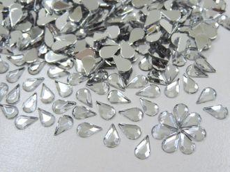 chaton gota 6x9mm cristal prata para colagem 400 unidades