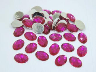 chaton oval rosa pink 15x20mm sem furo 100 unidades
