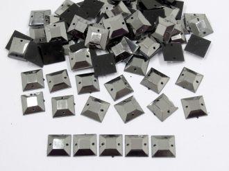 chaton quadrado grafite 10mm com furo para costura 200 unidades