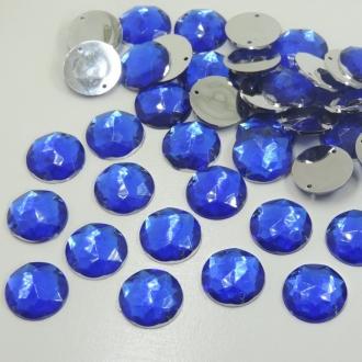 chaton redondo com furo 20mm azul royal para costura 50 unidades