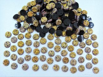 chaton redondo com furo dourado 8mm drusa 200 unidades