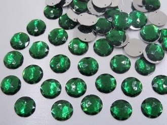 chaton redondo verde esmeralda com furo 20mm costura 100 unidades