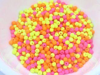 conta de borracha colorida neon com furo 4mm 400 unidades