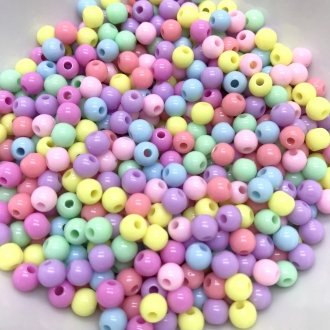 contas coloridas com furo bolinha 6mm 50 unidades