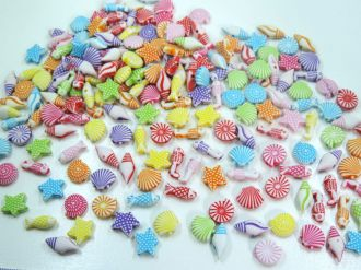contas coloridas com furo fundo do mar 100 unidades