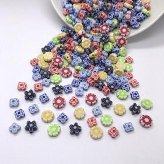 contas coloridas florzinhas com furo 20 gramas