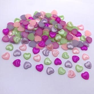 coração colorido colagem pérola abs 10mm 100 unidades