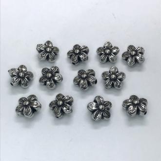 entremeio flor grafite com furo 10x4mm 12 unidades