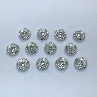 entremeio redondo flor prata com furo 10x4mm 12 unidades