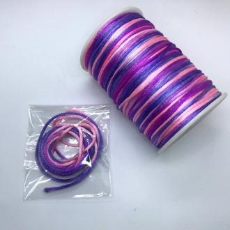 fio de cetim tie dye 2mm roxo lilas rosa 2 metros
