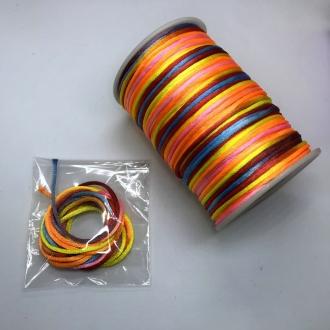 fio de cetim tie dye 2mm vermelho amarelo laranja 2 metros