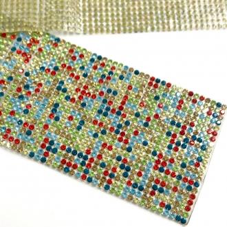 manta termocolante strass colorido 3mm 23,5x5cm
