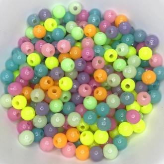 miçanga bola fluorescente com furo 8mm 25 unidades
