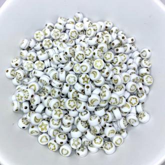 miçanga com furo estrela lua coração flor 6mm branco e dourado 100 unidades