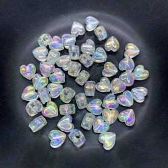 miçanga coração transparente furta cor 9x5mm 25 unidades