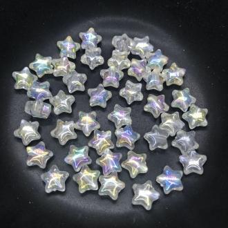 miçanga estrela transparente furta cor 10x4mm 25 unidades