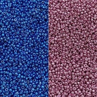 miçanguinha de vidro com furo 2mm azul ou rosa 25 gramas