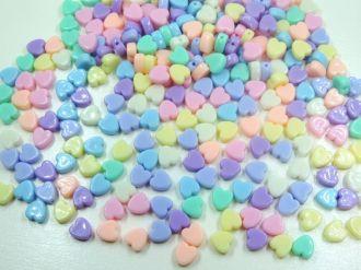 contas coloridas coração com furo 8mm 100 unidades