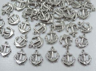 pingente âncora prata 16x18mm 50 unidades