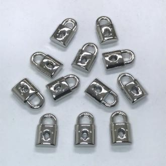 pingente cadeado prata 10x5mm 12 unidades