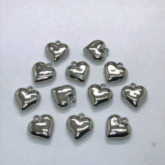 pingente coração prata 16x6mm 12 unidades