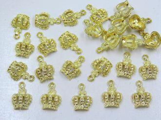 pingente coroa dourada 12x18mm 24 unidades