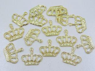pingente coroa dourada 23x20mm 15 unidades