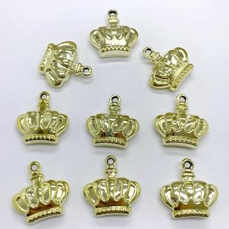 pingente coroa dourado 3cm 5 unidades