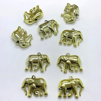 pingente elefante dourado 3,3cmx2,6cm 5 unidades