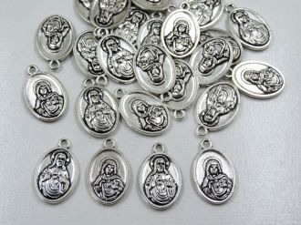 pingente medalha sagrado coração de jesus e maria 24 unidades