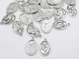 pingente medalha santa rita 22x15mm 24 unidades