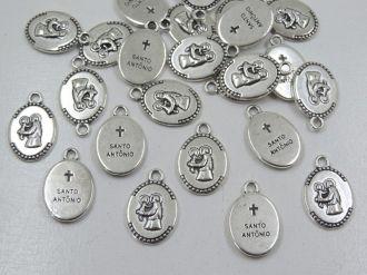 pingente medalha santo antônio 23x15mm 24 unidades