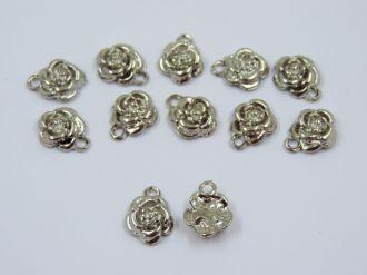 pingente rosa prata flor 11x15mm 12 unidades