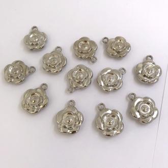 pingente rosa prata flor 25x20mm 12 unidades