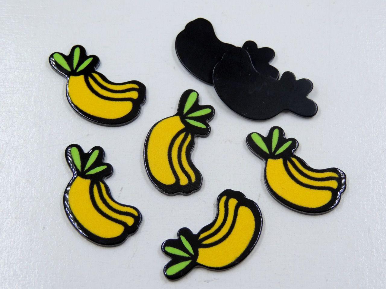 aplique banana 2,5cm x 1cm para artesanatos 5 unidades